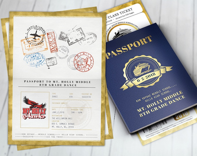 Cruise,Prom,PASSPORT and TICKET invitation, Dance, Birthday party, bridal shower, travel birthday, invitation, passport, Digital files