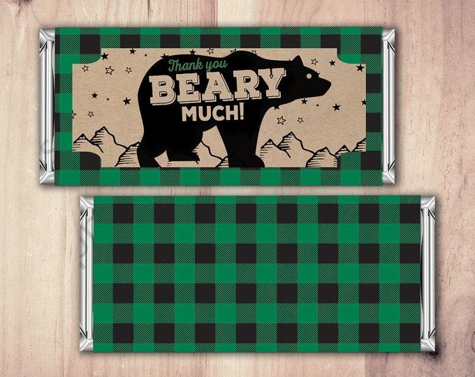 Birthday Candy Bar Wrapper, Digital file,  lumberjack, bear, Party Favors- shower favor, candy, lumberjack baby shower, woodland, baby bear