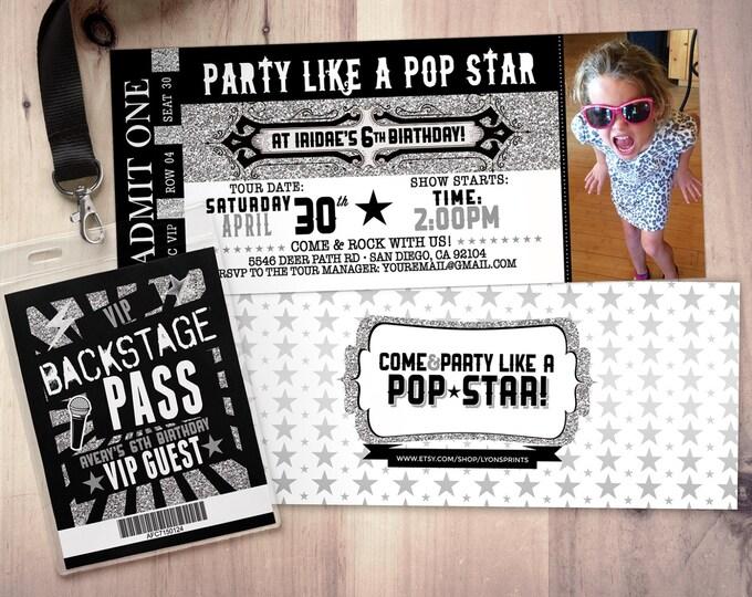 ROCK STAR concert ticket birthday party invitation- Music invitation- printable, rockstar party, pop star, animal print, 80's, invite,retro