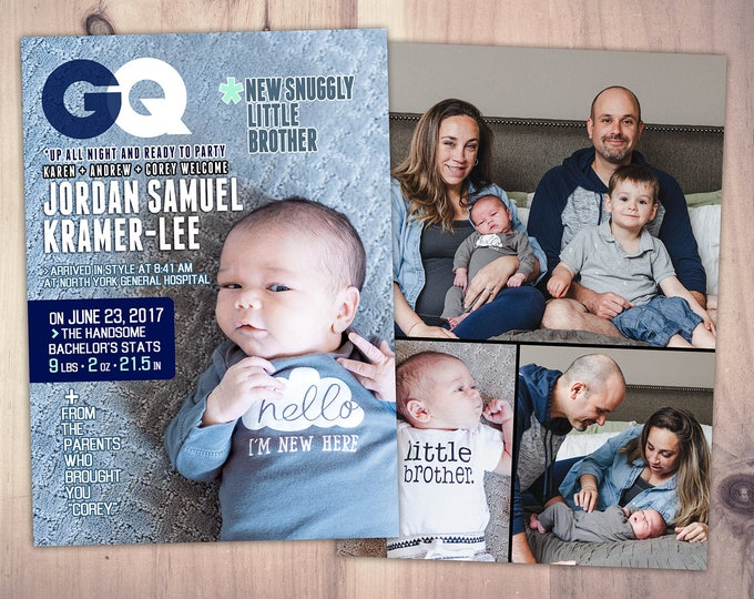 Magazine cover baby announcement, Boy baby announcement, little man, gentleman, mustache, little man baby shower