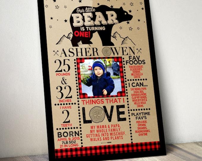 ANY AGE, Lumberjack birthday sign, photo prop, Buffalo Plaid Woodland, Lumberjack, first birthday, Bear , camping, moose