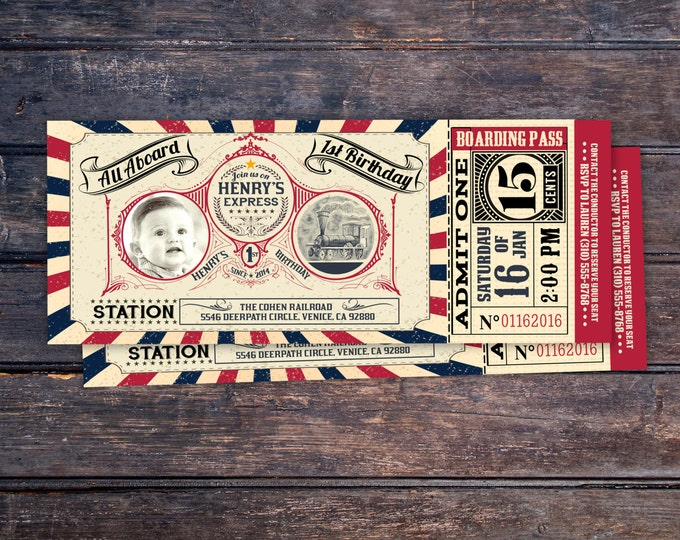 Vintage Train Ticket Invitation,Vintage Train invitation - Train ticket invitation for birthday party - Choo Choo train