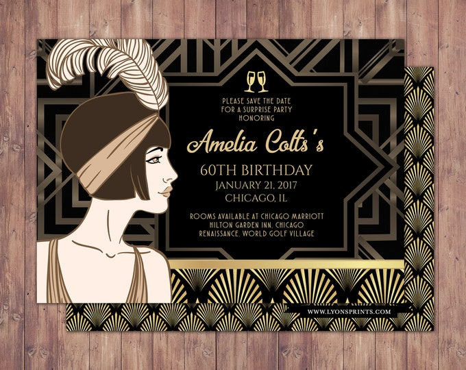 Great Gatsby, save the date, RSVP card, Roaring 20's, Hollywood film theme party. Black and gold, glam, old Hollywood