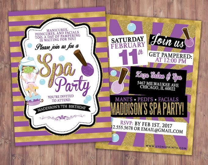 Spa party invitation, VIP PASS, backstage pass, Vip invitation, birthday invitation, pop star,  lanyard, Rock Star birthday, nail polish