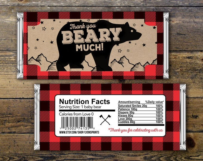 Digital Candy Bar Wrapper – lumberjack, bear  – Party Favors- shower favor, candy, lumberjack baby shower, woodland, birthday favor