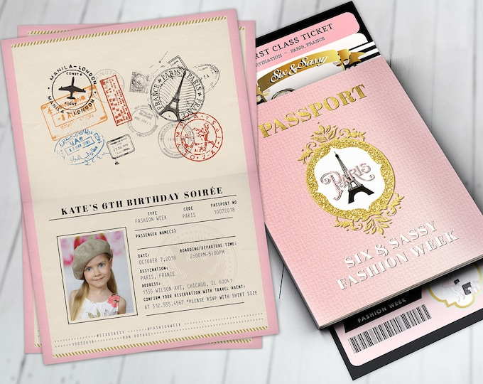 PASSPORT and TICKET, Sweet 16, Quinceanera invitation Girl birthday party, travel birthday party invitation- Paris, Digital files only