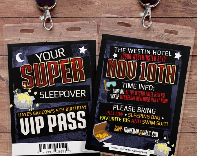 Sleepover party invitation / boy birthday invitations / sleepover invitation / super hero invitation /Digital files / Video game