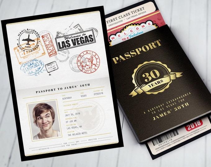 Las Vegas birthday party, PASSPORT and TICKET birthday invitation, travel birthday party invitation, custom passport, Vegas, Casino, poker