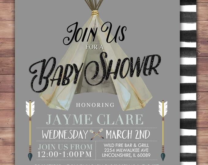 TEEPEE Baby Shower Invitation, Indian Baby shower Invite, aztec baby shower invite,boy, invitation, Aztec, arrow, pow wow, BOHO, Tribal
