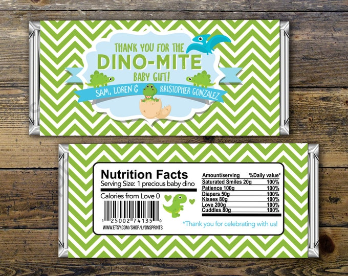 Baby Candy Bar Wrapper – Printable Hershey's Bar Wrapper  – Baby Shower- Party Favors- Dinosaur, shower favor, candy, baby dino, printable