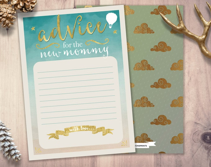 Advice for mommy card, Oh The Places Baby Shower,  shower game, precious cargo, baby shower advice