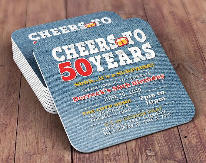 Any Age, DIGITAL FILE ONLY, Cheers and Beers invitation, beer, 21st, 30th, 40th, 50th, 60th, 70th, Milestone birthday, Denim invite