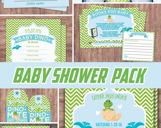 Party pack, party decorations, Baby Dino baby shower, Dinosaur shower, book request, diaper raffle, invitation, advice card, dinosaur