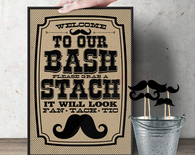Mustache Bash Baby Shower welcome sign, Mustache Shower Invite - shower game - Little Man- baby shower, boy baby shower, mustache,photo prop