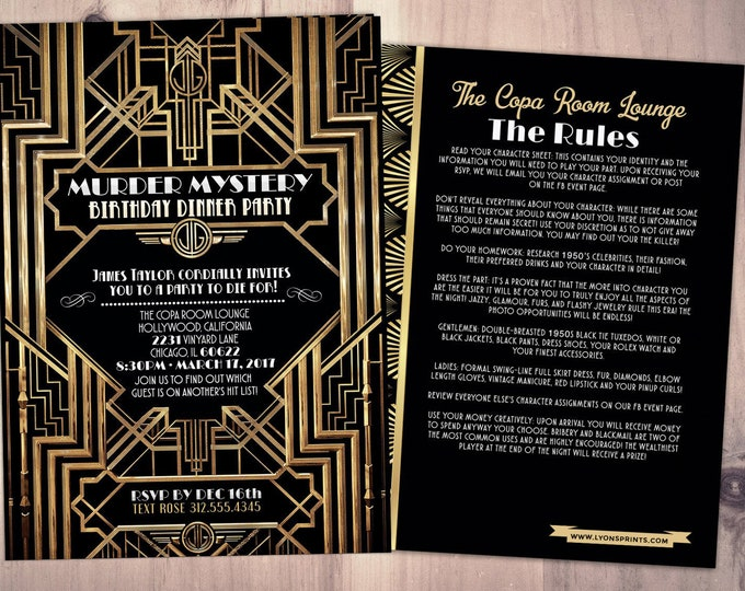 Murder Mystery Dinner Party Invitation, Vintage Party Invitation, Printable Birthday Invite, Great Gatsby, Hollywood glam,