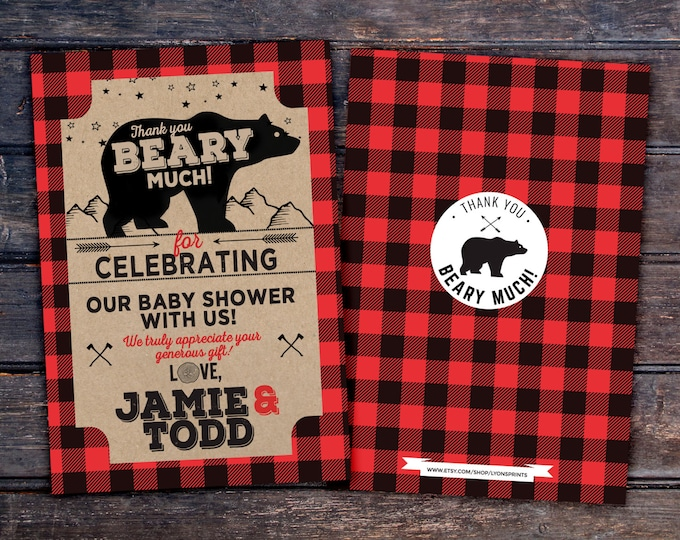 Baby shower, thank you,Lumberjack thank you card, Lumberjack birthday Invitation //  Buffalo Plaid Woodland Invitation // Rustic //  Bear