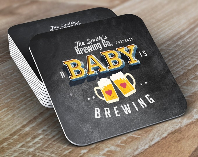 Digital logo file  Baby is brewing, Coed baby shower invitation- Beer baby shower invitation- couples baby shower  -  BBQ, party,  Coaster