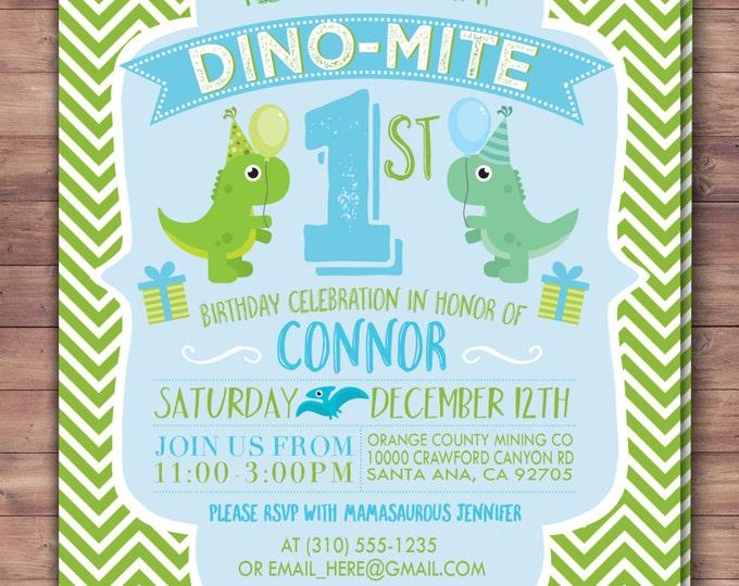 Dinosaur birthday, invitation, dino baby, chevron pattern, first birthday, 1st birthday,  baby shower decor, baby dinosaur, coed baby shower
