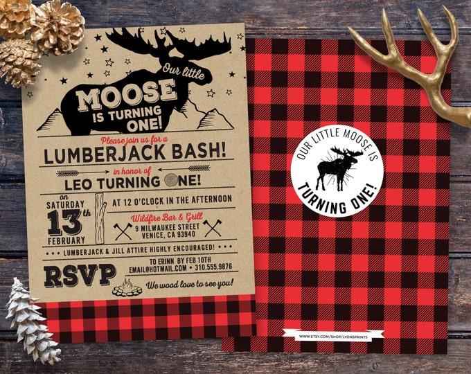 ANY AGE,Lumberjack birthday Invitation //  Buffalo Plaid Woodland Invitation // Lumberjack Invite // Rustic  //  Moose , bear camping