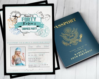 ANY AGE 40th 30th 50th 60th Birthday Invitation Travel Destination Passport ThemeDigital Files