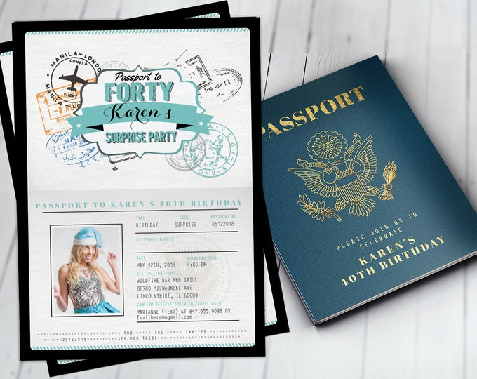 ANY AGE, 40th, 30th, 50th, 60th birthday invitation, travel invitation, destination, passport invitation, travel theme,Digital files