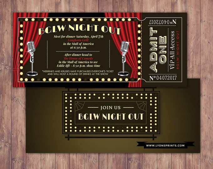 Comedy club ticket invitation, birthday invitation, night out invitation, ticket invitation, Gatsby, Great Gatsby, Roaring 20s, 1920s Party,