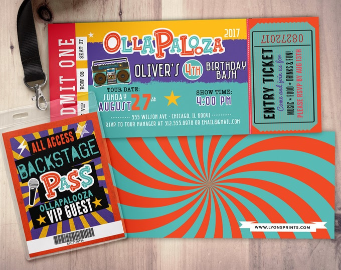 Rock Star-Concert ticket birthday invitation- girl birthday invitation- pop star birthday invitation-music birthday invitation