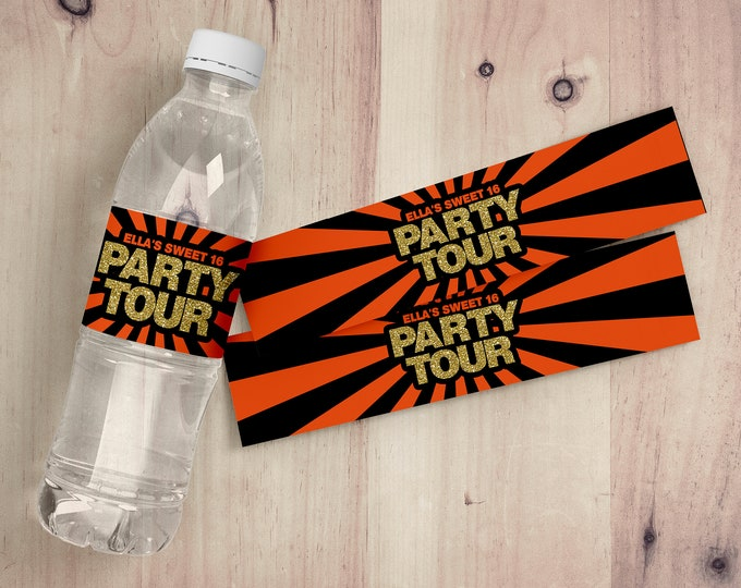 Limo party, Water Bottle Labels, birthday party decor, limo ride party, limo, labels, stickers, water label