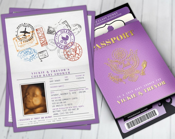 PASSPORT and TICKET baby shower invitation! Coed baby shower invitation- travel baby shower invitation- Digital files Only