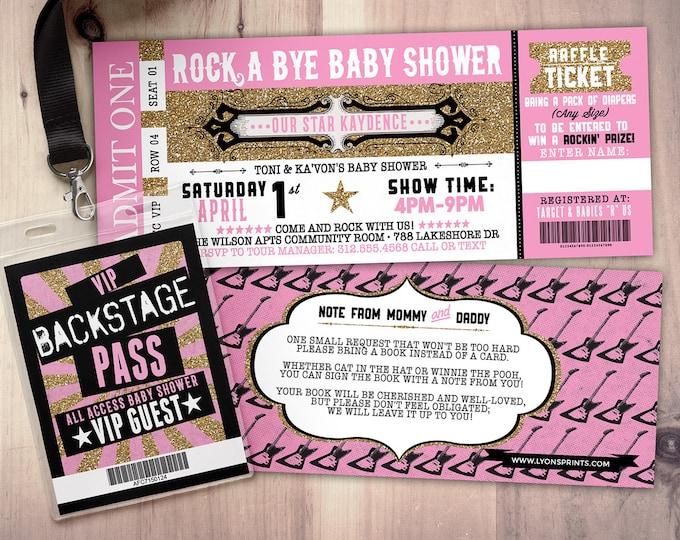 ROCK STAR concert ticket baby shower invitation-Coed baby shower invitation- Rock baby shower invitation- couples baby shower - music