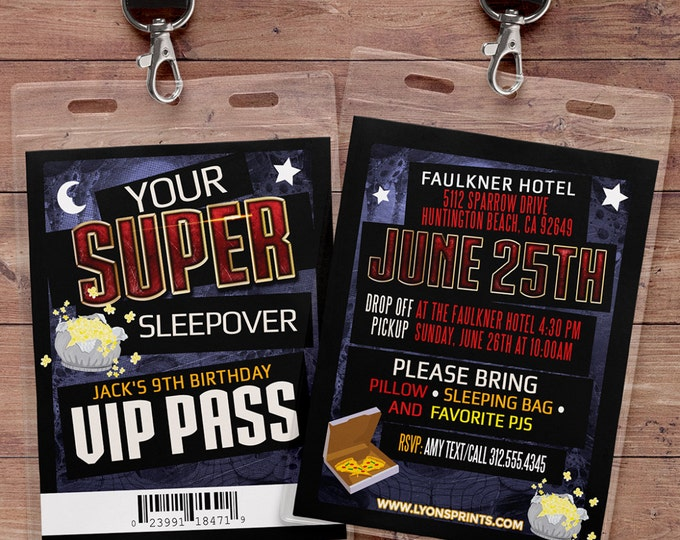 Sleepover party invitation / boy birthday invitations / sleepover invitation / super hero invitation / comic invitation / Video game