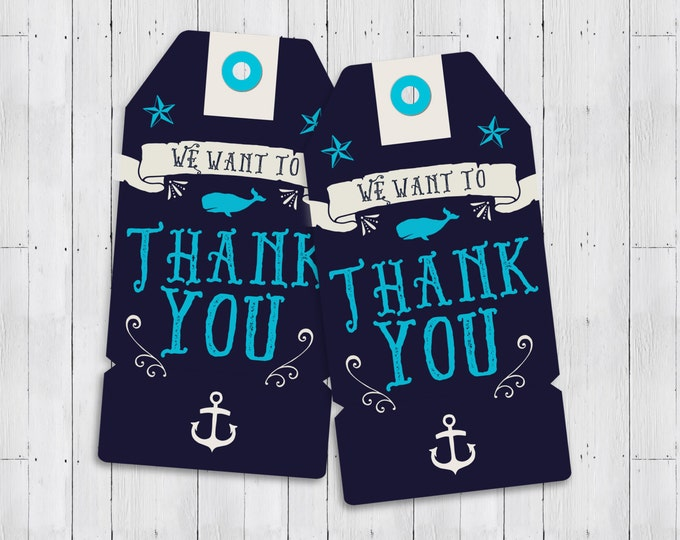 Nautical Baby Shower, thank you- Ahoy It's A Boy - favor tag - Coed shower - Personalized invitation- Baby Shower invitation, couples shower