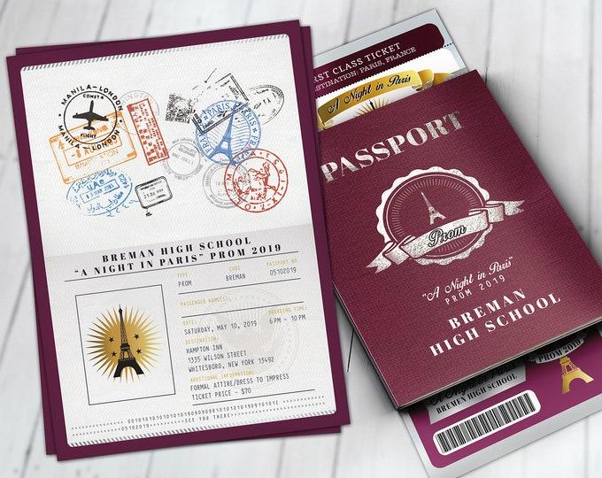 Paris,Prom,PASSPORT and TICKET invitation, Birthday party, bridal shower, travel birthday, invitation, prom, passport, Digital files