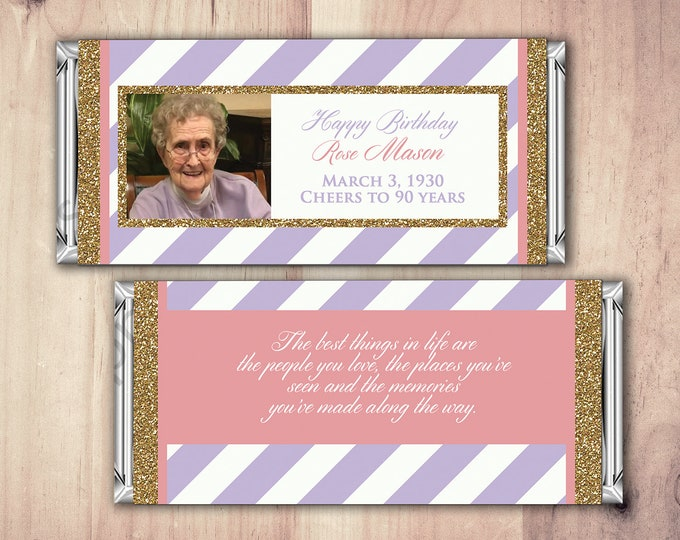 ANY AGE, Birthday, Candy Bar Wrappers - Gold, Silver Cheers, 30th, 40th, 50th, 60th, 70th, 80th Any Age, aged to perfection, printable