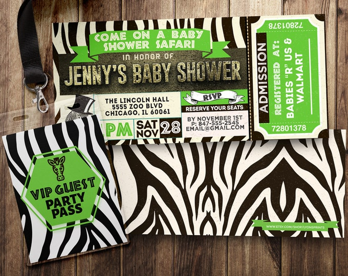 Ticket invitation, Safari, baby shower, baby shower, Zoo, animal print, animals, ,safari birthday, Animal print invite, safari invitation