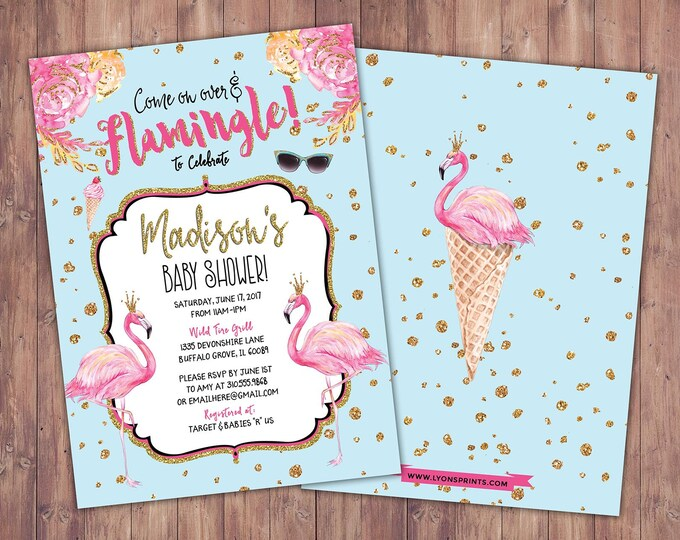Baby Shower, Flamingo invitation, Flamingo party, pool party invitation, birthday invitation, pink gold invitation, glitter invitation,