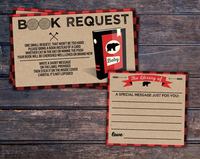 Book request, Digital file only, Lumberjack Baby Shower, Buffalo Plaid, Woodland Baby Shower, lumberjack, shower games