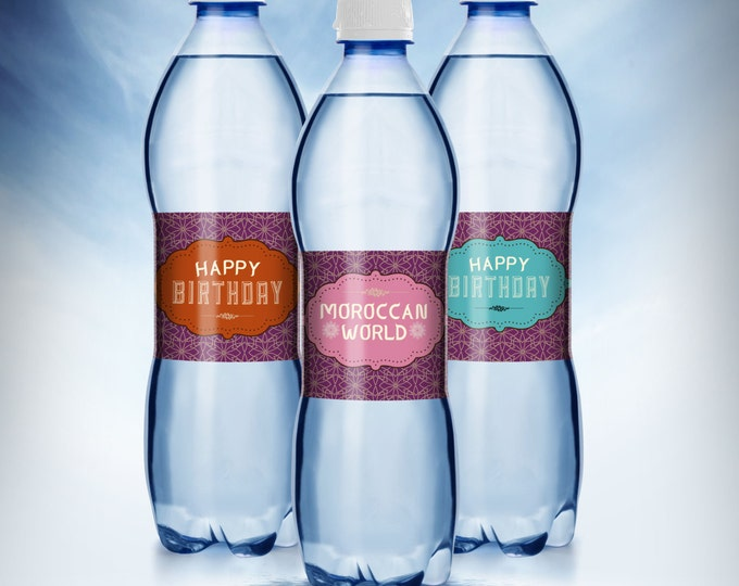 water labels, Moroccan birthday, Girl birthday, travel birthday, Moroccan birthday, ethnic, party decor