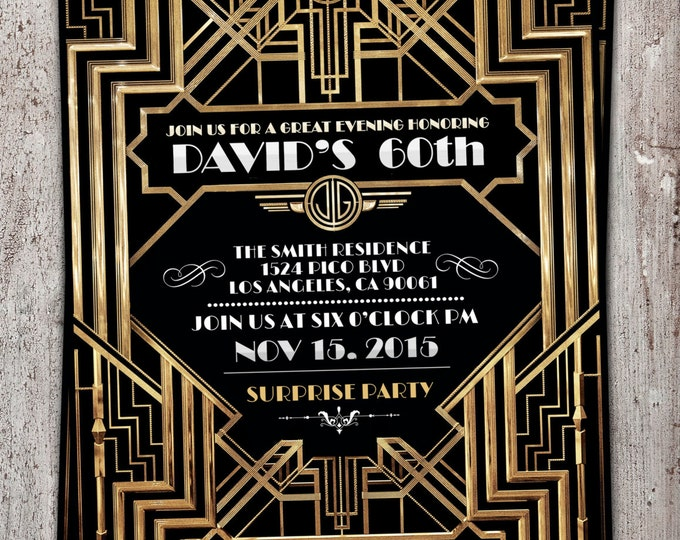 Great Gatsby birthday invitation, Roaring 20's, Hollywood film theme party invite. Black and gold glam printable digital invite, glam,