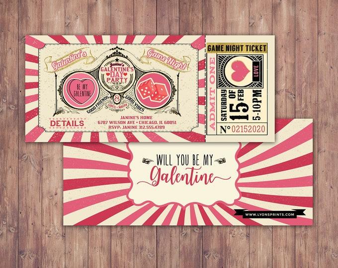 Galentine's Day Invite / Retro Invite / Galentines / Valentines Day  / Game night, Game party, Valentine's, Valentine's Day
