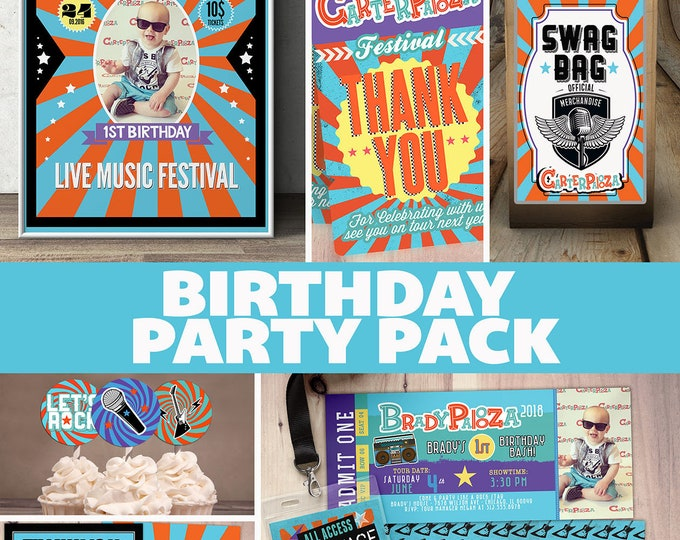 Party pack, party decorations,Birthday Party, rockstar invitation, thank you, party sign, party favor label, cupcake toppers, baby shower