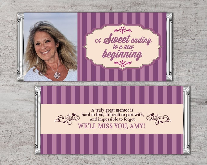 Retirement Candy Bar Wrapper, Printable Digital File,Candy Bar, purple stripes, retirement party, party favor, gift, thank you