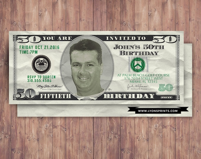 ANY AGE, money, invitation, 21st, 30th, 40th, 50th, 60th, 70th, Surprise Birthday Party Invitation, adult birthday,