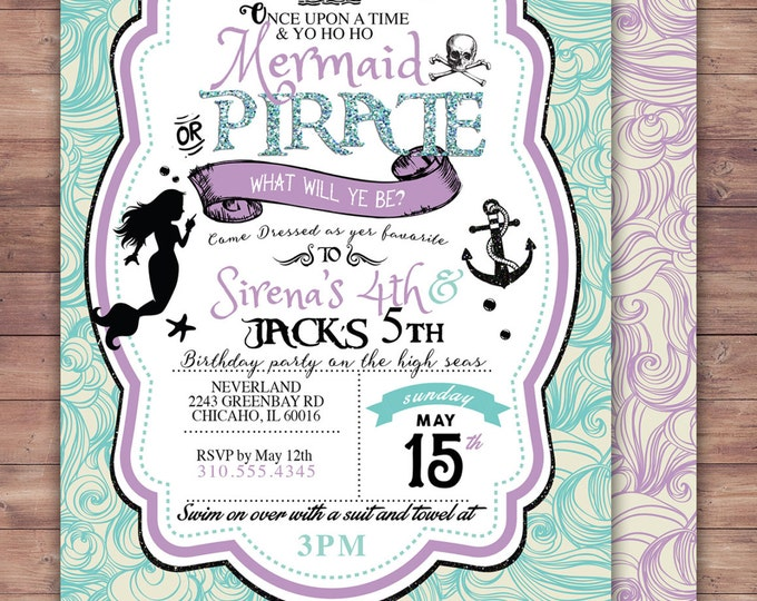 Mermaid invitation,  Pirate and Princess Birthday Invitation, Princess and Pirate invitation ,Twins birthday, nautical, under the sea