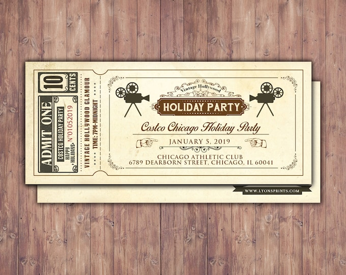 Holiday party invite, New Years Invitation, Christmas party Invitation, Vintage cinema ticket, Corporate party invite, Holiday invite