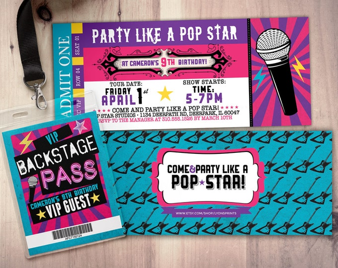 Pop star, Rock Star concert ticket birthday party invitation- Music invitation- printable, rockstar party, pop star, karaoke party,