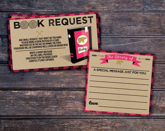 Book request, Lumberjack Baby Shower //  Buffalo Plaid Woodland Baby Shower Invitation // Lumberjack Invite // Rustic //  Bear