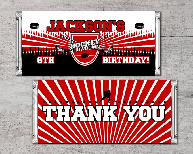 Personalized Hockey Candy Wrapper, your colors & message – Hockey Gifts. team gift, Birthday party favor, hockey birthday, gift, thank you