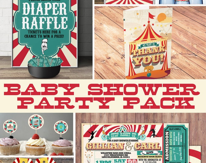 Circus Printable Baby Shower Package - Vintage Circus Big Top Baby Shower DIY Set - invitation, sign, cupcake toppers, thank you card, party