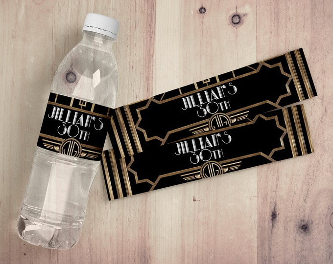 Custom water Labels, party decor, party decorations, party supplies, birthday party, wedding,Great Gatsby, Roaring 20's, flapper